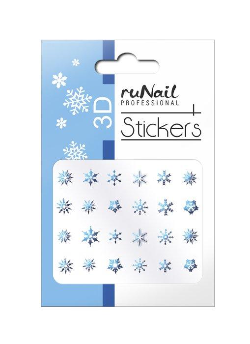 ruNail, 3D Наклейки для дизайна ногтей № 2077Наклейки для дизайна ногтей<br>Самоклеящиеся новогодние наклейки для дизайна ногтей. Снежинки, голубые.<br>