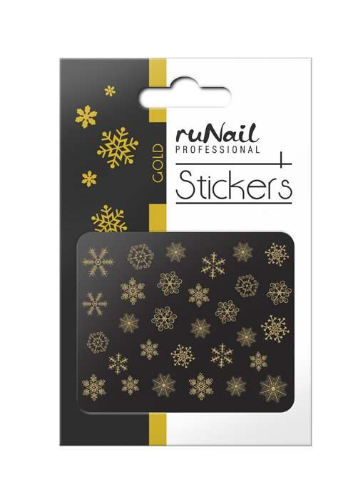 ruNail, 3D Наклейки для дизайна ногтей № 2078Наклейки для дизайна ногтей<br>Самоклеящиеся новогодние наклейки для дизайна ногтей. Снежинки, золотые.<br>