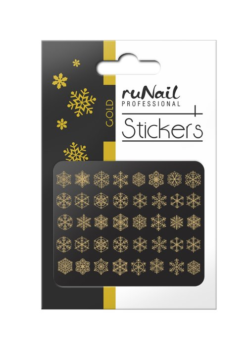 ruNail, 3D Наклейки для дизайна ногтей № 2079Наклейки для дизайна ногтей<br>Самоклеящиеся новогодние наклейки для дизайна ногтей. Снежинки, золотые.<br>