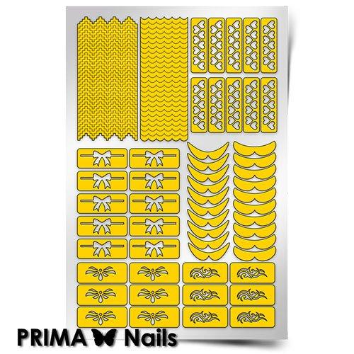 PrimaNails, Трафарет для дизайна ногтей - Френч и лунки. ФантазияPrimaNails<br>Самоклеющиеся трафареты<br>