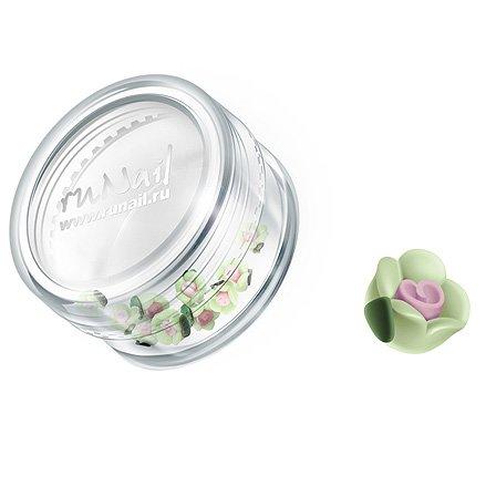 ruNail, Дизайн для ногтей: пластиковые цветы 0342 (чайная роза, салатовый), 10 штукПластиковые цветы<br>Имитация акриловой лепки для объемного дизайна. Применение пластиковых цветов в дизайне ногтей экономит Ваше время.<br>