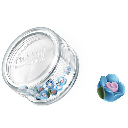 ruNail, Дизайн для ногтей: пластиковые цветы 0343 (чайная роза, голубой), 10 штукПластиковые цветы<br>Имитация акриловой лепки для объемного дизайна. Применение пластиковых цветов в дизайне ногтей экономит Ваше время.<br>