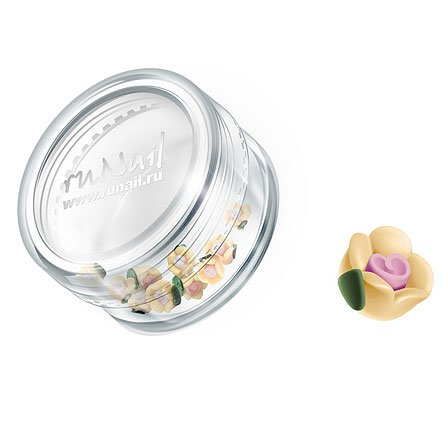 ruNail, Дизайн для ногтей: пластиковые цветы 0344 (чайная роза, бежевый), 10 штук (RuNail (Россия))