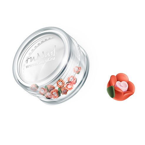 ruNail, Дизайн для ногтей: пластиковые цветы 0345 (чайная роза, оранжевый), 10 штук (RuNail (Россия))