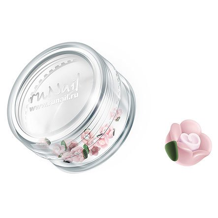 ruNail, Дизайн для ногтей: пластиковые цветы 0346 (чайная роза, бледно-розовый), 10 штукПластиковые цветы<br>Имитация акриловой лепки для объемного дизайна. Применение пластиковых цветов в дизайне ногтей экономит Ваше время.<br>
