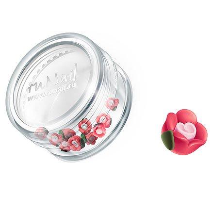 ruNail, Дизайн для ногтей: пластиковые цветы 0347 (чайная роза, красный), 10 штукПластиковые цветы<br>Имитация акриловой лепки для объемного дизайна. Применение пластиковых цветов в дизайне ногтей экономит Ваше время.<br>
