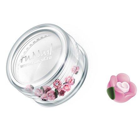 ruNail, Дизайн для ногтей: пластиковые цветы 0348 (чайная роза, розовый), 10 штук (RuNail (Россия))