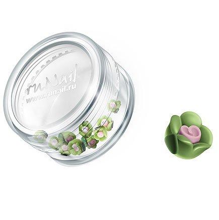 ruNail, Дизайн для ногтей: пластиковые цветы 0341 (чайная роза, зеленый), 10 штукПластиковые цветы<br>Имитация акриловой лепки для объемного дизайна. Применение пластиковых цветов в дизайне ногтей экономит Ваше время.<br>