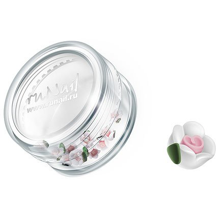 ruNail, Дизайн для ногтей: пластиковые цветы 0349 (чайная роза, белый), 10 штук (RuNail (Россия))