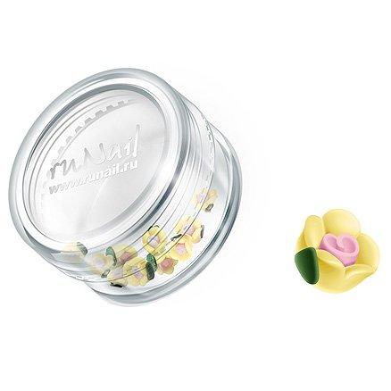 ruNail, Дизайн для ногтей: пластиковые цветы 0350 (чайная роза, желтый), 10 штукПластиковые цветы<br>Имитация акриловой лепки для объемного дизайна. Применение пластиковых цветов в дизайне ногтей экономит Ваше время.<br>