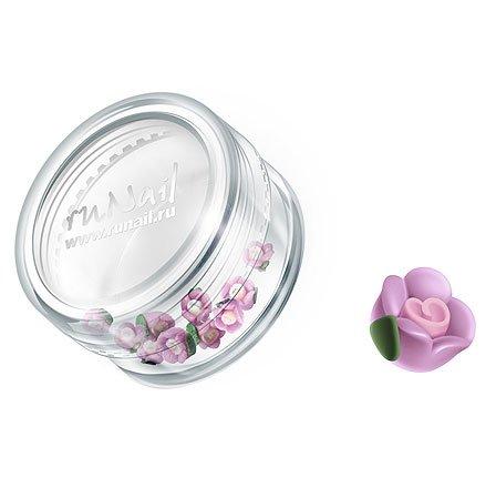 ruNail, Дизайн для ногтей: пластиковые цветы 0351 (чайная роза, сиреневый), 10 штукПластиковые цветы<br>Имитация акриловой лепки для объемного дизайна. Применение пластиковых цветов в дизайне ногтей экономит Ваше время.<br>