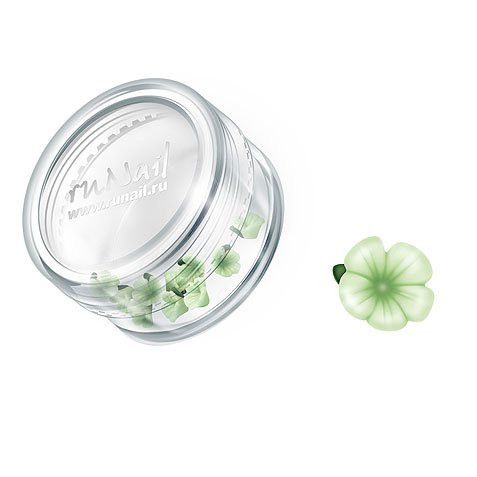 ruNail, Дизайн для ногтей: пластиковые цветы 0356 (вьюнок, нежно-зеленый), 10 штукПластиковые цветы<br>Имитация акриловой лепки для объемного дизайна. Применение пластиковых цветов в дизайне ногтей экономит Ваше время.<br>