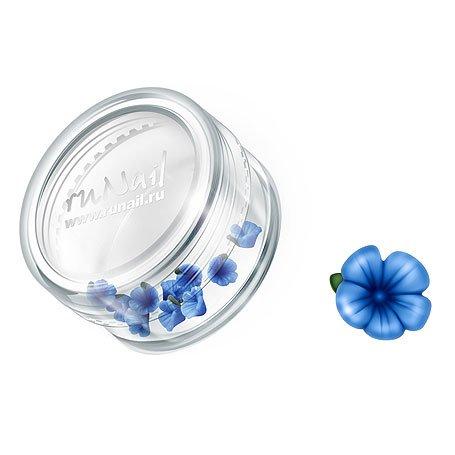ruNail, Дизайн для ногтей: пластиковые цветы 0357 (вьюнок, синий), 10 штукПластиковые цветы<br>Имитация акриловой лепки для объемного дизайна. Применение пластиковых цветов в дизайне ногтей экономит Ваше время.<br>