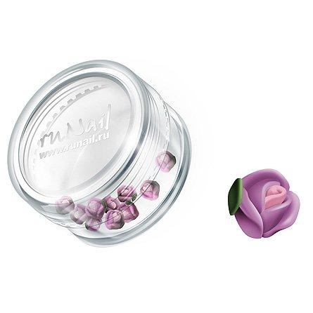 ruNail, Дизайн для ногтей: пластиковые цветы 0364 (голландская роза, нежно-сиреневый), 10 штукПластиковые цветы<br>Имитация акриловой лепки для объемного дизайна. Применение пластиковых цветов в дизайне ногтей экономит Ваше время.<br>