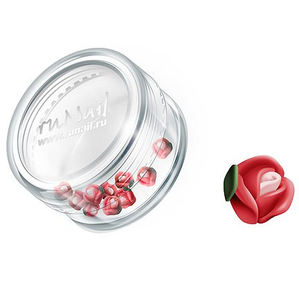 ruNail, Дизайн для ногтей: пластиковые цветы 0365 (голландская роза, ярко-красный), 10 штукПластиковые цветы<br>Имитация акриловой лепки для объемного дизайна. Применение пластиковых цветов в дизайне ногтей экономит Ваше время.<br>