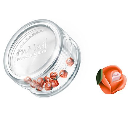 ruNail, Дизайн для ногтей: пластиковые цветы 0366 (голландская роза, ярко-оранжевый), 10 штукПластиковые цветы<br>Имитация акриловой лепки для объемного дизайна. Применение пластиковых цветов в дизайне ногтей экономит Ваше время.<br>
