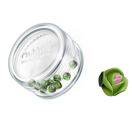 ruNail, Дизайн для ногтей: пластиковые цветы 0368 (голландская роза, зеленый), 10 штукПластиковые цветы<br>Имитация акриловой лепки для объемного дизайна. Применение пластиковых цветов в дизайне ногтей экономит Ваше время.<br>
