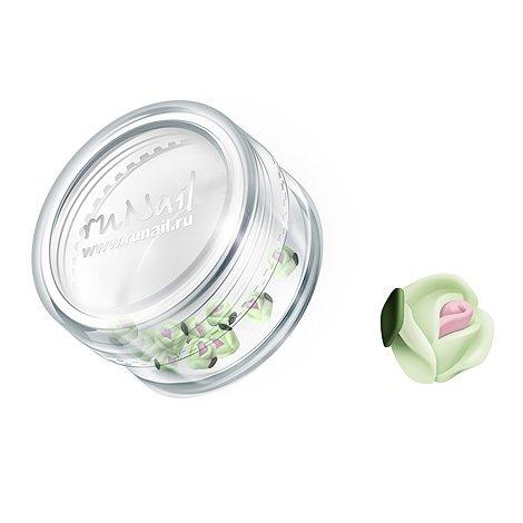 ruNail, Дизайн для ногтей: пластиковые цветы 0369 (голландская роза, нежно-зеленый), 10 штукПластиковые цветы<br>Имитация акриловой лепки для объемного дизайна. Применение пластиковых цветов в дизайне ногтей экономит Ваше время.<br>