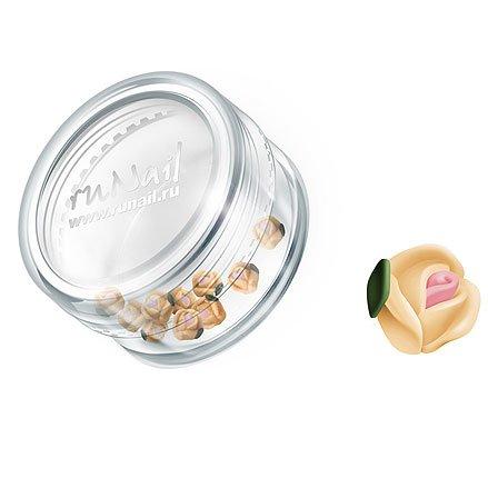 ruNail, Дизайн для ногтей: пластиковые цветы 0371 (голландская роза, персиковый), 10 штукПластиковые цветы<br>Имитация акриловой лепки для объемного дизайна. Применение пластиковых цветов в дизайне ногтей экономит Ваше время.<br>