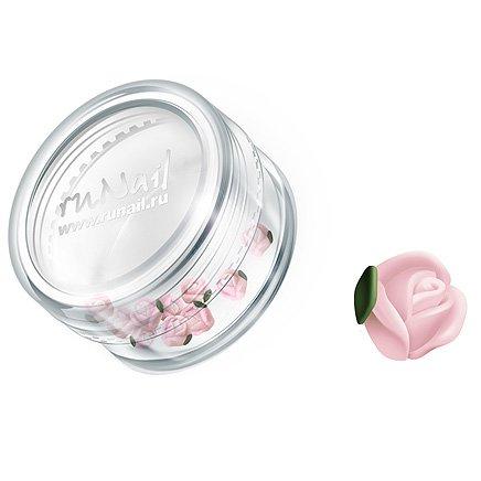ruNail, Дизайн для ногтей: пластиковые цветы 0373 (голландская роза, нежно-розовый), 10 штук (RuNail (Россия))