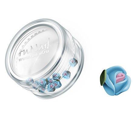 ruNail, Дизайн для ногтей: пластиковые цветы 0374 (голландская роза, ярко-голубой), 10 штукПластиковые цветы<br>Имитация акриловой лепки для объемного дизайна. Применение пластиковых цветов в дизайне ногтей экономит Ваше время.<br>