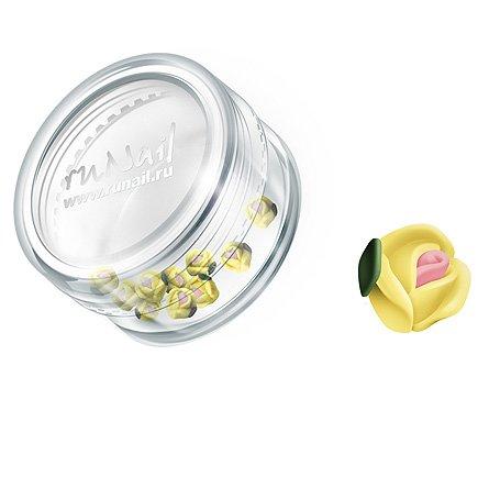ruNail, Дизайн для ногтей: пластиковые цветы 0375 (голландская роза, ярко-желтый), 10 штукПластиковые цветы<br>Имитация акриловой лепки для объемного дизайна. Применение пластиковых цветов в дизайне ногтей экономит Ваше время.<br>