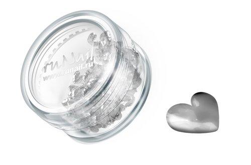 ruNail, Дизайн для ногтей: сердечки из ткани 0397 (серебряный) (RuNail (Россия))