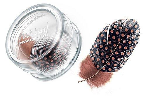 ruNail, Дизайн для ногтей: перья 0409 (коричневый)Перья<br>Перья используются в основном для конкурсного дизайна. Можно украсить ноготь, как целым пером, так и оторвав от него отдельные элементы.<br>