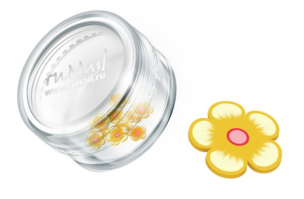 ruNail, Дизайн для ногтей: резиновые аппликации 0412 (цветы, желто-оранжевый)Резиновые аппликации<br><br>