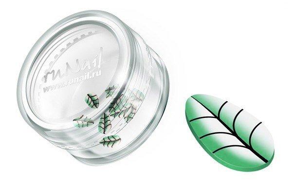 ruNail, Дизайн для ногтей: резиновые аппликации 0413 (узкие листья, зеленый)Резиновые аппликации<br><br>