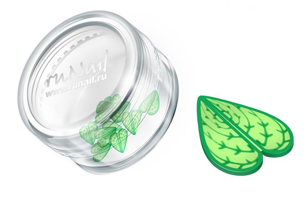 ruNail, Дизайн для ногтей: резиновые аппликации 0414 (широкие листья, зеленый)Резиновые аппликации<br><br>