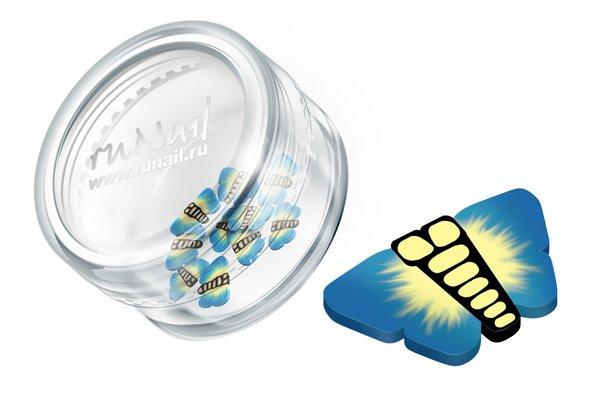 ruNail, Дизайн для ногтей: резиновые аппликации 0415 (бабочки, синий)Резиновые аппликации<br><br>