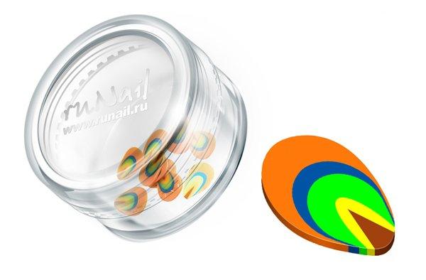 ruNail, Дизайн для ногтей: резиновые аппликации 0416 (фигурки, оранжево-зеленый) (RuNail (Россия))