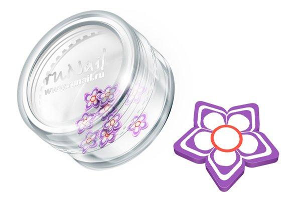 ruNail, Дизайн для ногтей: резиновые аппликации 0417 (цветочки, сиреневый)Резиновые аппликации<br><br>
