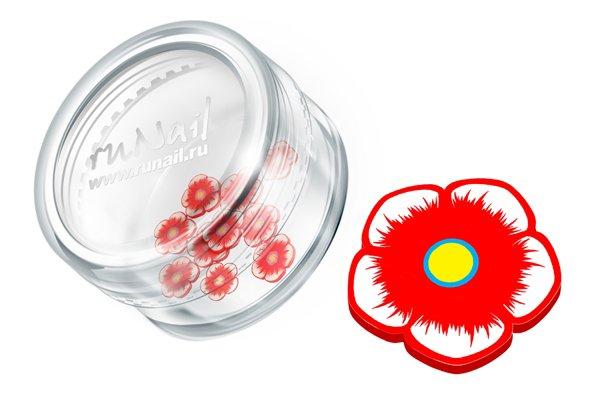 ruNail, Дизайн для ногтей: резиновые аппликации 0418 (цветочки, красный)Резиновые аппликации<br><br>