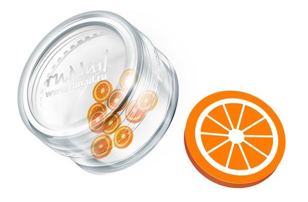 ruNail, Дизайн для ногтей: резиновые аппликации 0420 (дольки апельсина, оранжевый)Резиновые аппликации<br><br>