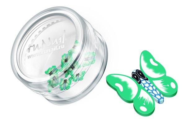 ruNail, Дизайн для ногтей: резиновые аппликации 0423 (большие бабочки, зеленый)Резиновые аппликации<br><br>