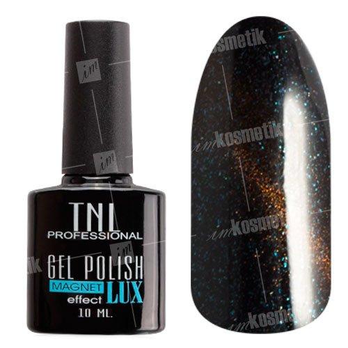TNL, Гель-лак Magnet LUX №15 - Черная маслина с блестками (10 мл.)TNL Professional <br>Гель-лак магнитный, черный, с голубыми и темно-золотыми блестками, плотный<br>