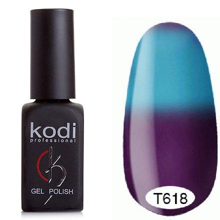 Kodi, Термо гель-лак № Т618 (8 ml)Kodi Professional <br>Гель-лактемно-бирюзово-зеленый/светло-бирюзово-зеленый, без блесток и перламутра, плотный.<br>