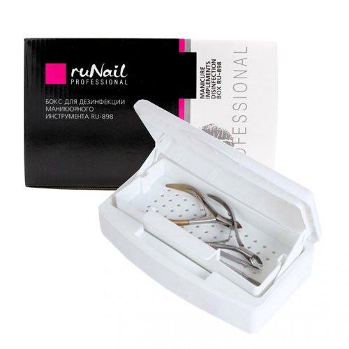 ruNail, Бокс для дезинфекции маникюрного инструмента RU-898 (пластиковый)Оборудование <br>Пластиковый бокс предназначен для дезинфекции маникюрного и педикюрного инструмента.<br>
