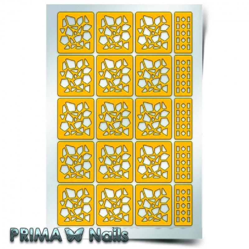 PrimaNails, Трафарет для дизайна ногтей - МозаикаPrimaNails<br>Самоклеющиеся трафареты<br>