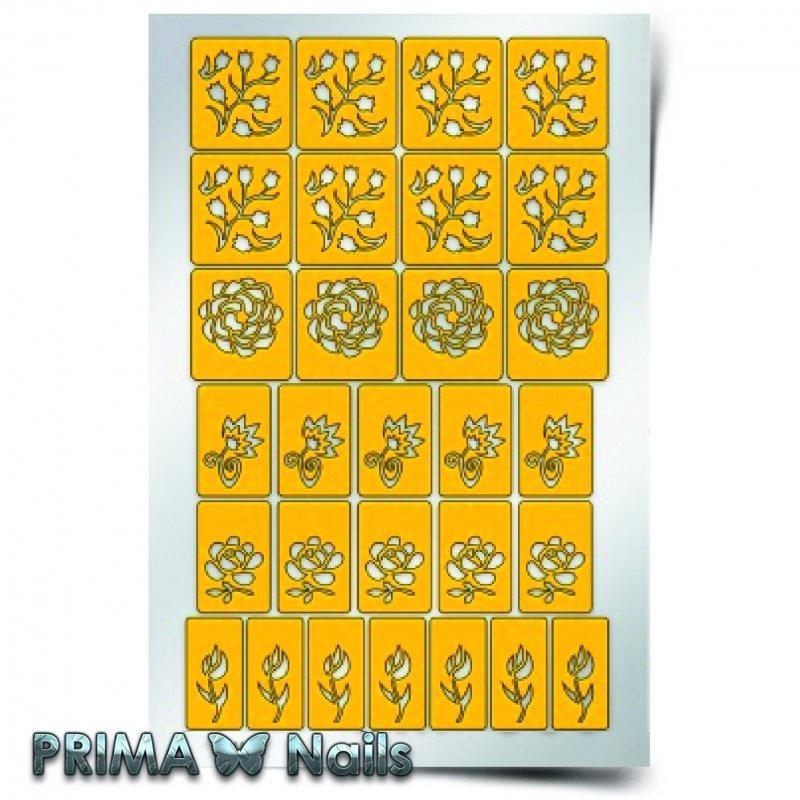 PrimaNails, Трафарет для дизайна ногтей - Цветочный микс 1PrimaNails<br>Самоклеющиеся трафареты<br>