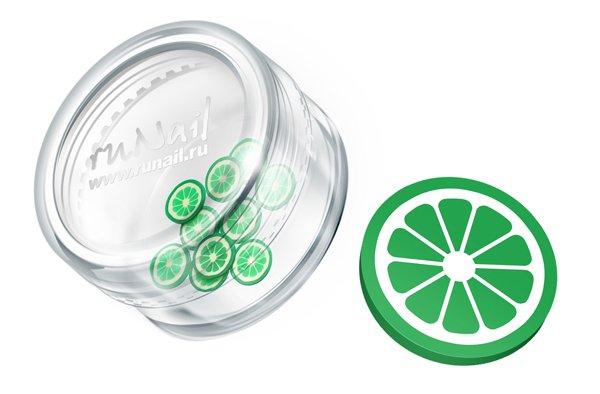 ruNail, Дизайн для ногтей: резиновые аппликации 0692 (дольки лайма, зеленый) (RuNail (Россия))