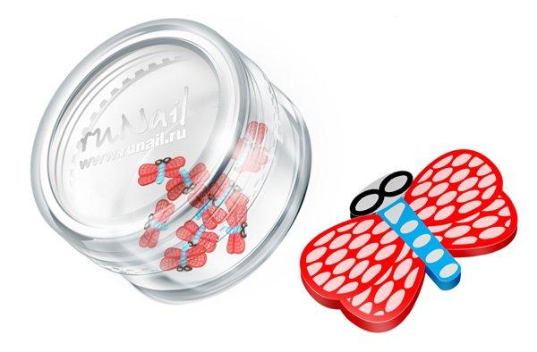 ruNail, Дизайн для ногтей: резиновые аппликации 0696 (стрекоза, красно-голубой)Резиновые аппликации<br><br>