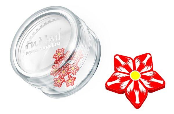 ruNail, Дизайн для ногтей: резиновые аппликации 0698 (цветы, красно-белый)Резиновые аппликации<br><br>