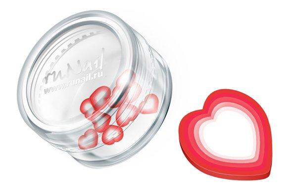 ruNail, Дизайн для ногтей: резиновые аппликации 0700 (сердечки, красный) (RuNail (Россия))