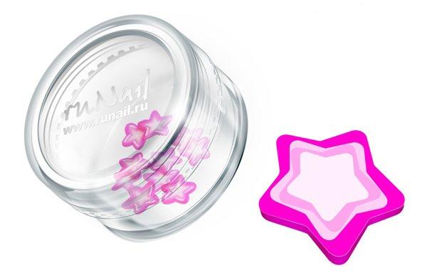 ruNail, Дизайн для ногтей: резиновые аппликации 0701 (звездочки, розовый)Резиновые аппликации<br><br>