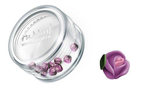 ruNail, Дизайн для ногтей: пластиковые цветы (голландская роза, нежно-сиреневый), 3DSA001Пластиковые цветы<br>Имитация акриловой лепки для объемного дизайна. Применение пластиковых цветов в дизайне ногтей экономит Ваше время.<br>