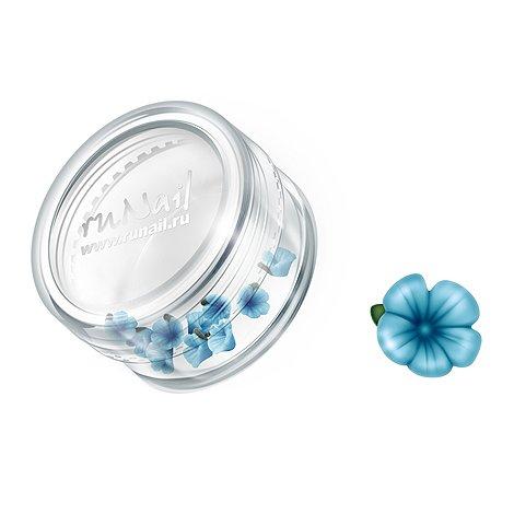 ruNail, Дизайн для ногтей: пластиковые цветы (вьюнок, ярко-голубой), 3DSB001Пластиковые цветы<br>Имитация акриловой лепки для объемного дизайна. Применение пластиковых цветов в дизайне ногтей экономит Ваше время.<br>