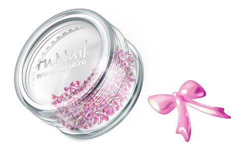 ruNail, Дизайн для ногтей: бантики из ткани FRBO012 (светло-розовый) (RuNail (Россия))